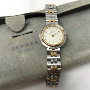 Hermès Classic 2-Tone H Band Clipper Watch w/Pouch